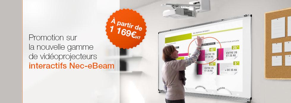 Nos vidéoprojecteurs interactifs à ultra-courte focale NEC eBeam en promotion (VPI)