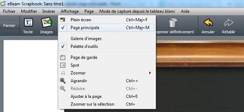 ebeam scrapbook page principale menu