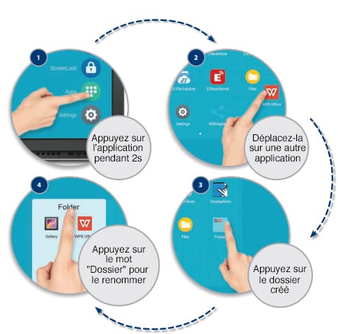 créer un dossier d'applications ecran tactile