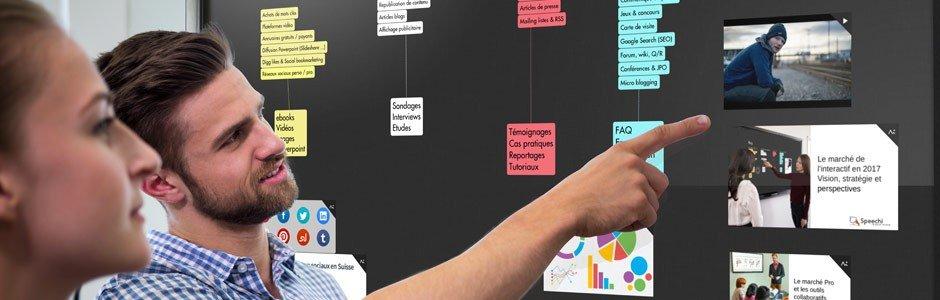 logiciels collaboratifs sur écran interactif pour organiser le travail d'équipe