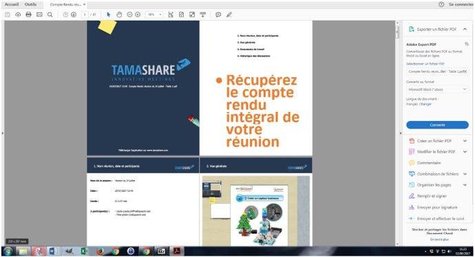 Sauvegarde PDF de votre réunion virtuelle Tamashare
