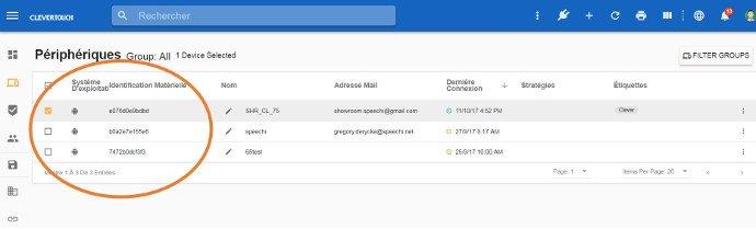 Liste des écrans interactifs tactiles connectés au serveur de gestion à distance MDM