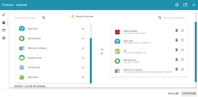 Selection des applications à verrouiller sur un écran interactif tactile