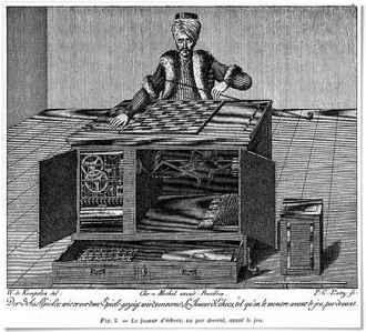 il y a une nouvelle intéressante d'Edgar Poe, qui s'appelle « le joueur d'échecs de Maelzel »...