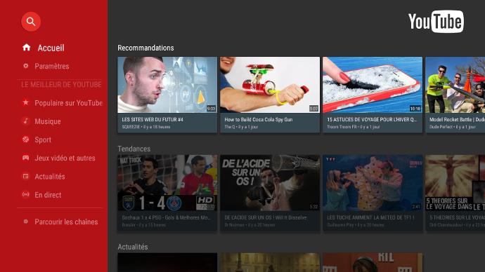 Page d'accueil youtube sur un écran interactif tactile