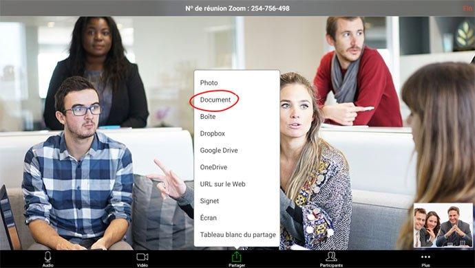 visioconférence sur un écran interactif avec Zoom