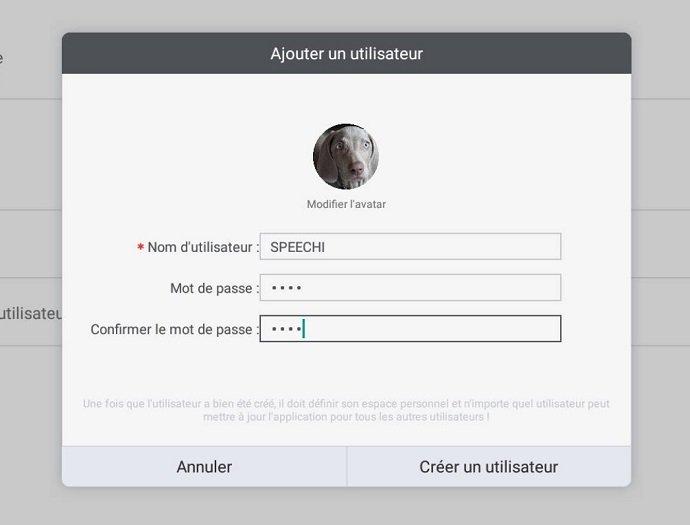 les informations utilisateur de l ecran interactif