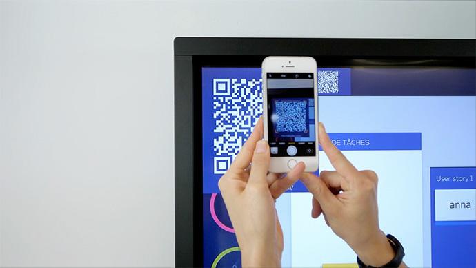 Un QR code integré au logiciel de collaboration Ubikey syr écran interactif