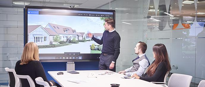 Reunion avec l'écran interactif en entreprise