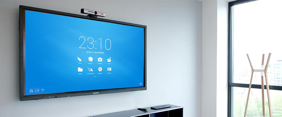 The Speechi 4K ePTZ camera on an interactive SpeechiTouch screen