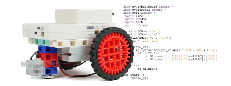 moteurs et photoréflecteur infrarouge dans le kit robotique ESPeRobo pour le collège