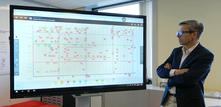 Utilisation sur écran interactif du logiciel iObeya par l'entreprise Orano
