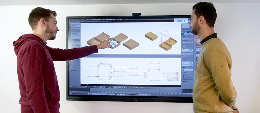 creation de packaging produit sur un écran tactile superglass géant