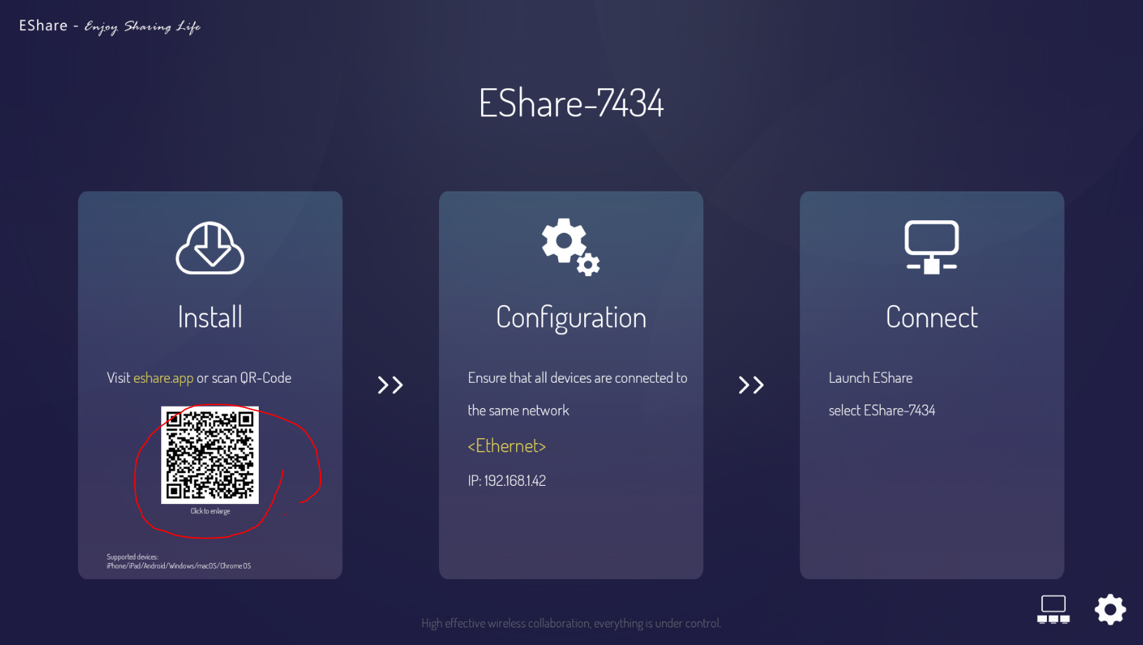 eshare mirroring android écran interactif