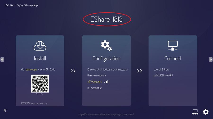 Lancement de l'appli de screen sharing Eshare sur un écran tactile