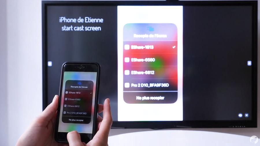 Le partage d'écran d'un iPhone sur un écran tactile avec EShare