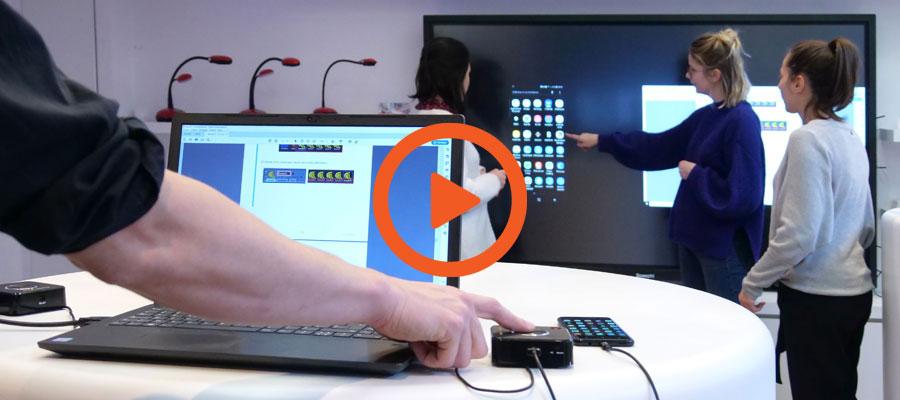 La vidéo de démonstration du boîtier sans fil BYOD QuattroPod 4k Mini d'Ezcast sur écran interactif