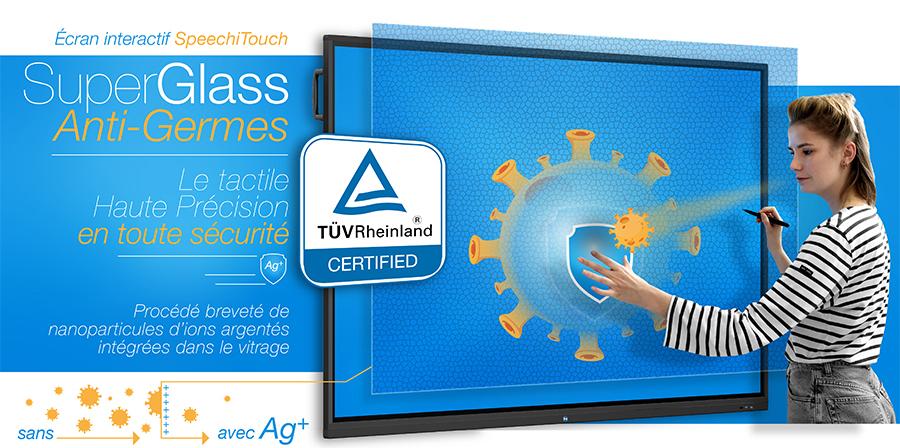 écrans interactifs anti-germes SuperGlass