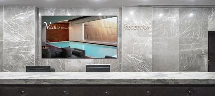 ecran affichage reception hotel